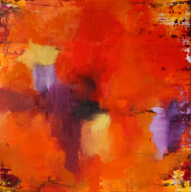Contemporary Art, Orange, Yellow, Music as Muse, Live Painting, Fleetwood Mac, Landslide, Art, Painting, Abstract Expressionism
