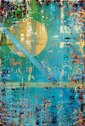 Blue, Green, Moon, Light, Gold Moon, Abstract