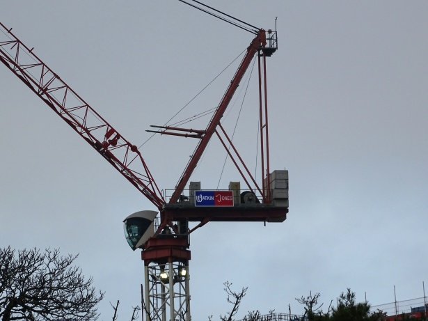 A large crane constructing a tower.