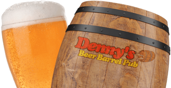 Denny's Beer Barrel Pub Barrel and Beer Glass