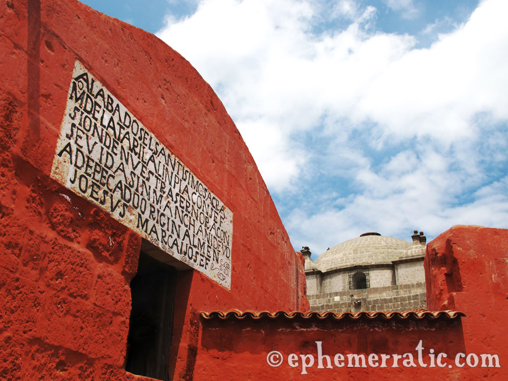 Street sign at Santa Catalina Monastery and Convent, Arequipa, Peru photo