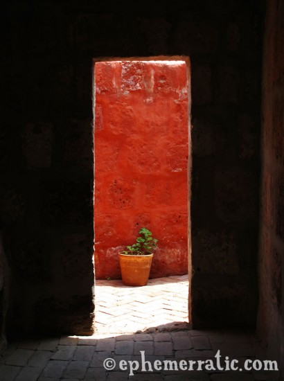 Tall and narrow doorway, Santa Catalina Monastery and Convent, Arequipa, Peru photo
