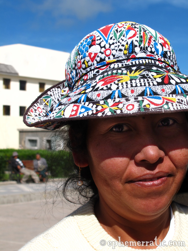 Cabana woman in a traditional embroidered hat, Cabanaconde, Colca Canyon, Peru photo