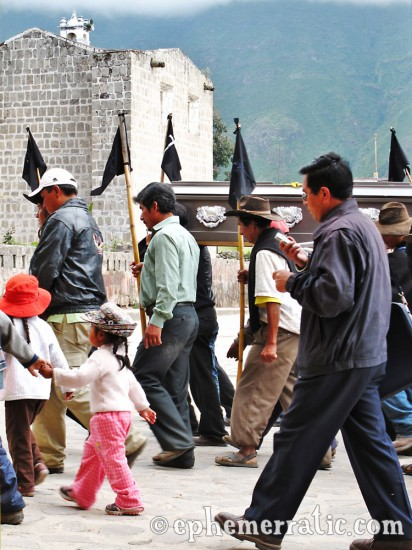 Funeral procession in the plaza, Cabanaconde, Colca Canyon, Peru