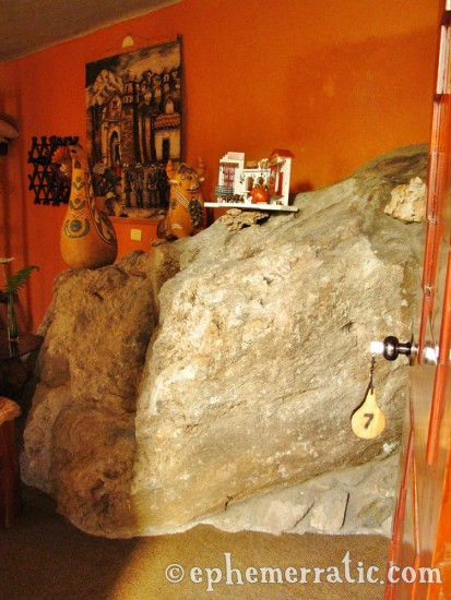 Surprising in-room boulder, Hotel Kuntur Wassi, Cabanaconde, Colca Canyon, Peru photo