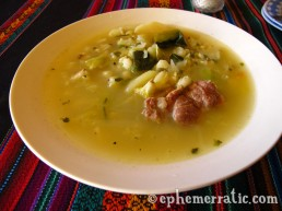 Chairo soup at Sol y Sombra, Cabanaconde, Colca Canyon, Peru photo