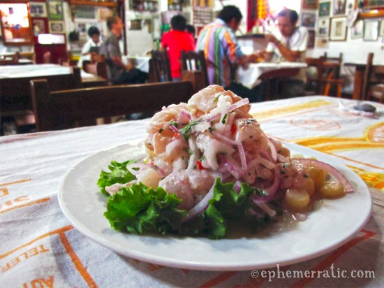 Ceviche lenguado at Canta Rana in Lima, Peru