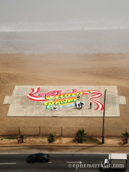 Cholo Power mural on the Miraflores beach, Lima, Peru by Lauren Girardin