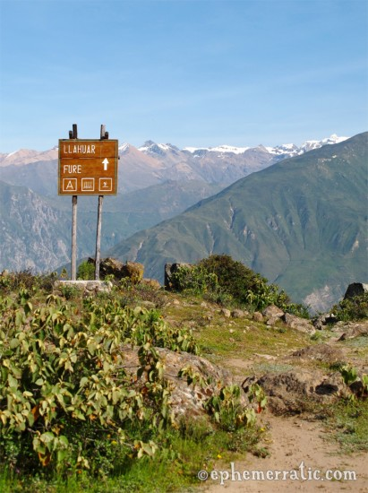 Sign to Llahuar hiking trail, Colca Canyon, Peru photo