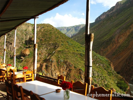 The deck at Llahuar Lodge, Colca Canyon, Peru photo