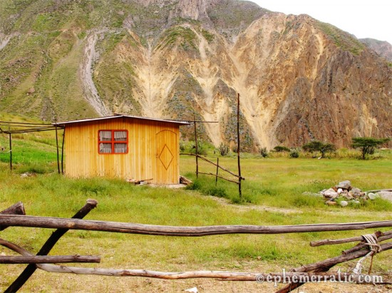 Orange window framed cabin, Colca Canyon, Peru photo