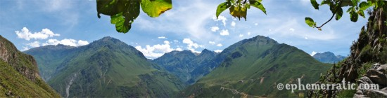 Panorama from under the shade of leaves, Colca Canyon, Peru photo