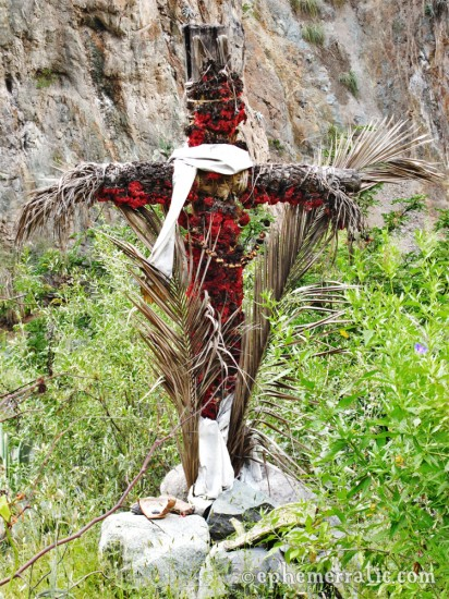 Handmade cross on the trail, Colca Canyon, Peru photo