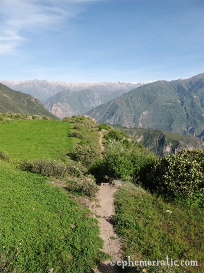 Trail leaving Mrador Achachiua, Colca Canyon, Peru photo