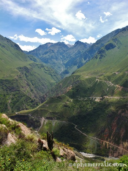 View toward Llahuar from the ridge, Colca Canyon, Peru photo