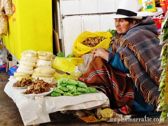 Mushroom seller naps in Cusco's Central Market, Peru photo