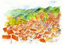 View of Cusco, Peru drawing