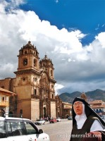 A nun, a church, a taxi, Cusco, Peru photo