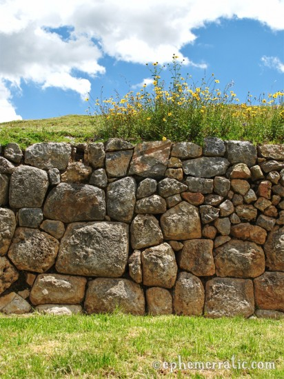 Flower-covered Incan wall, Sacsayhuamán, Cusco, Peru photo