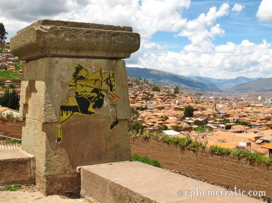 Stencil of a Native American and horse, San Blas, Cusco, Peru photo