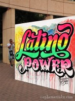Latino Power street art in Parque Kennedy, Lima, Peru