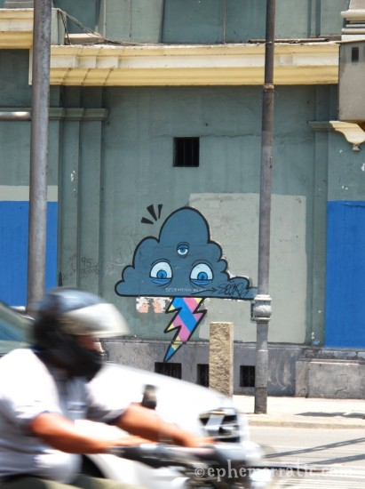 Lightning cloud street art, Centro District, Lima Peru by Lauren Girardin