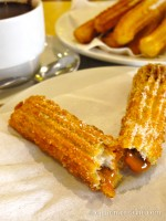 Churros rellenos con manjarblanco at Manolo's in Lima, Peru