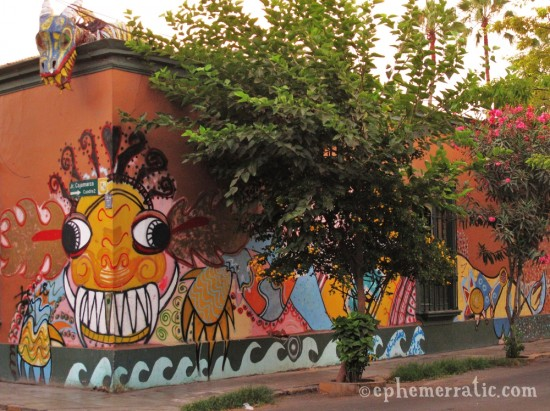 Mighty teeth mural, Barranco, Lima, Peru by Lauren Girardin