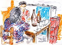 Drawing of drinkers at a nameless bar in Pisac, Peru by Todd Berman