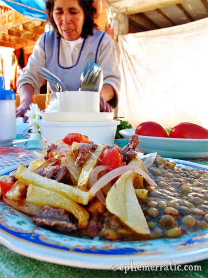 Lomo saltado with lentils, Pisac Sunday Market, Peru photo