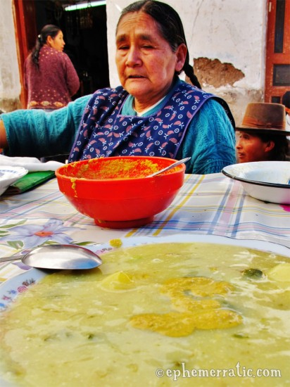 Corn soup, Pisac Sunday Market, Peru photo