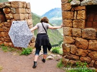 Fear of heights at Pisac ruins, Peru photo
