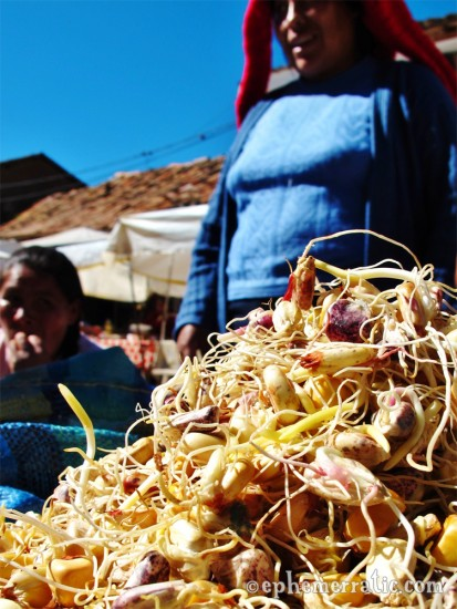 Sprouted corn for making chicha, Pisac Sunday Market, Peru photo