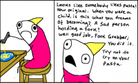 Sad pasta, fork grabber by Allie Brosh, Hyperbole and a Half