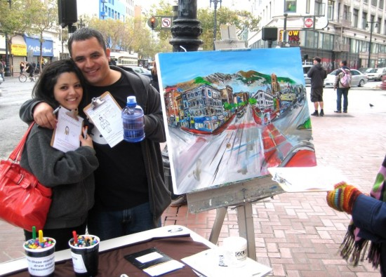 Todd Berman's painting at 2 Blocks of Art event in San Francisco photo