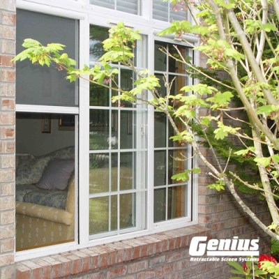 Sliding Window With Cascade Retractable Window Screen Horizontally Installed