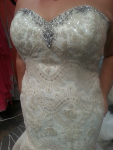 plus size wedding dress gold sequin