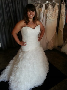 plus size wedding dress with ruffles