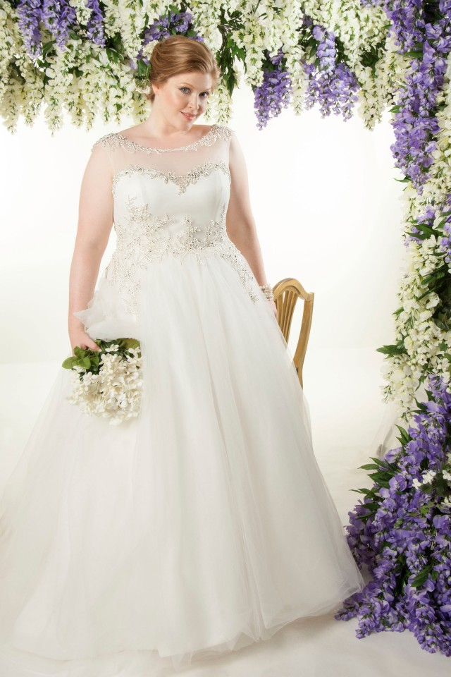 illusion neckline plus size ball gown wedding dress