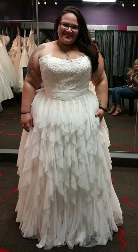 plus size wedding dress with layered skirt