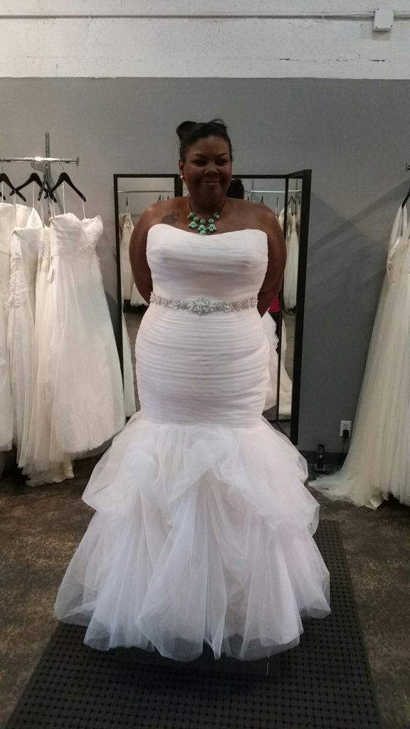 pink trumpet wedding gown