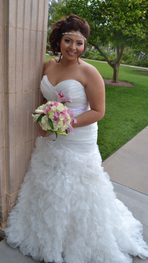 fitted ruffled wedding gown
