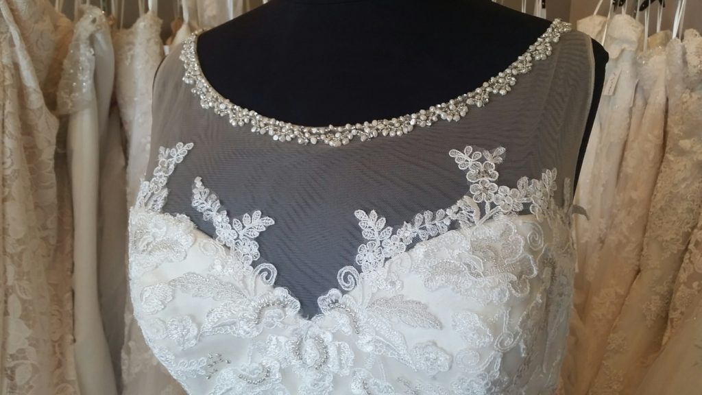 illusion neck plus size wedding gown