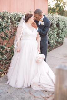 Armany's Lace Cap Sleeve Champagne Wedding Dress