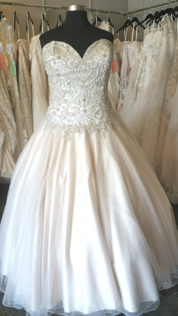 Dropped waist sparkle ballgown