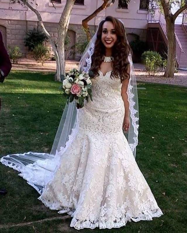 alex champagne lace mermaid wedding dress