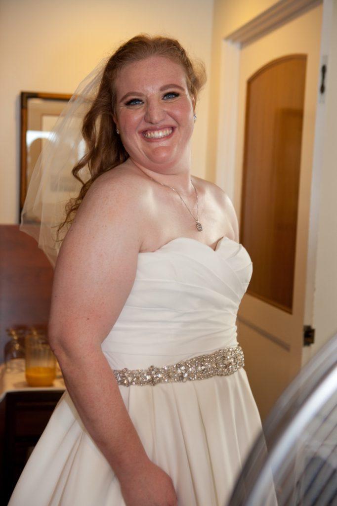 real plus size bride chiffon wedding dress with beaded belt