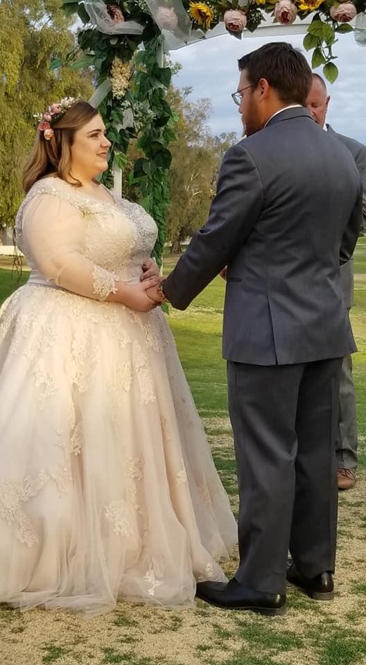 curvy bride in dreamy lace ballgown wedding dress