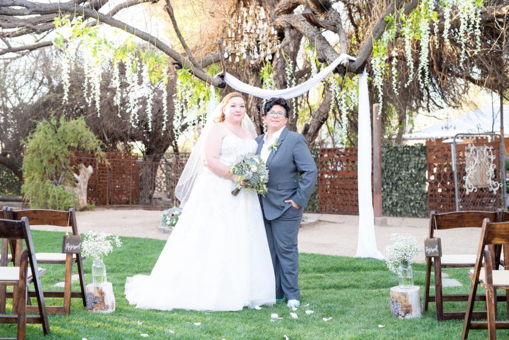 newlyweds LGBT wedding ranch wedding