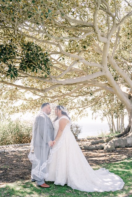 plus size newlyweds under cathedral veil